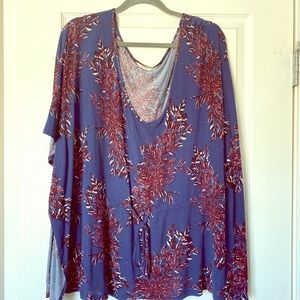 Old Navy floral tunic navy burgundy Size XL
